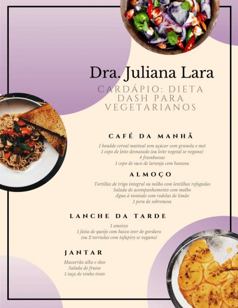Exemplo de Dieta Dash - Dia 1 (Vegetarianos)